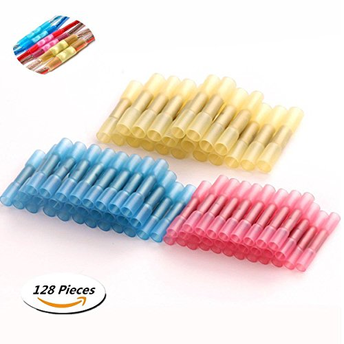 Tinpa 128Pcs Heat Shrink Connectors Set Wire Terminal Kit Assorted Insulated Electrical Wiring Wire Terminal Crimp Connector Heat Shrink Kit(Blue 50 + red 50 + yellow 28)