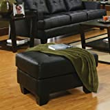 Ottoman with Wooden Legs Contemporary Black Leather