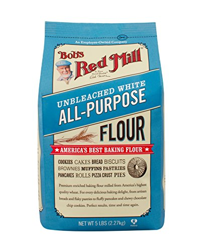 Bob's Red Mill Unbleached White All Purpose Baking Flour, 5 Pound (Pack of 4)