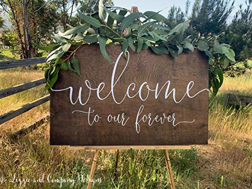 MosesMat41 Welcome to Our Forever Sign Welcome Wedding Sign Rustic Wedding Welcome Sign Wedding Easel Sign Custom Easel SignWedding Welcome Sign ()