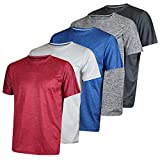 Men's Quick Dry Fit Dri-Fit Short Sleeve Active Wear Training Athletic Essentials Crew T-Shirt Fitness Gym Workout Casual Undershirt Top - 5 Pack,Set 2-M