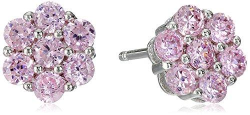 Miss Crislu Girls' Sterling Silver Pink Cubic Zirconia Cluster Stud Earrings