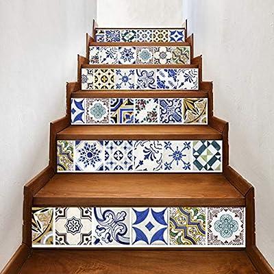 Conjunto De 6 Piezas Pegatinas De Escaleras Pegatinas De Estilo Árabe Azul De Cerámica Escalera Escaleras A Prueba De Agua Art Deco Calcomanías Creativas Escaleras Murales De Renovación 18 * 100cm: Amazon.es: