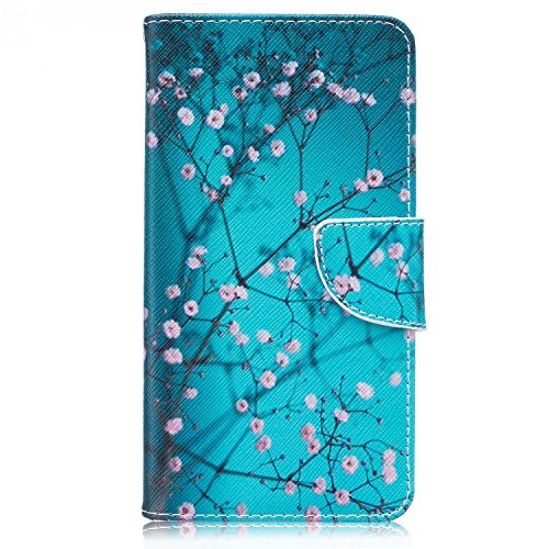 LG Stylus 2 Case, LG Stylo 2 Case, Easytop Slim Fit Stand Feature PU Leather Wallet Folio Flip Cover Protective Case with Card Holder Cash Pocket Magnetic Closure for LG LS775 / LG K520 (Plum Blossom) For Sale