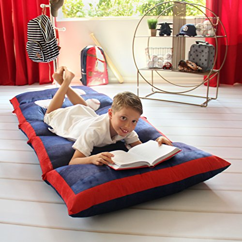 Kid's Floor Pillow Bed Cover - Use as Nap Mat, Portable Toddler Bed or inflatable air mattress alternative for Sleepovers, Travel, Napping, or as a Lounger for Reading, Playing. Cover Only!