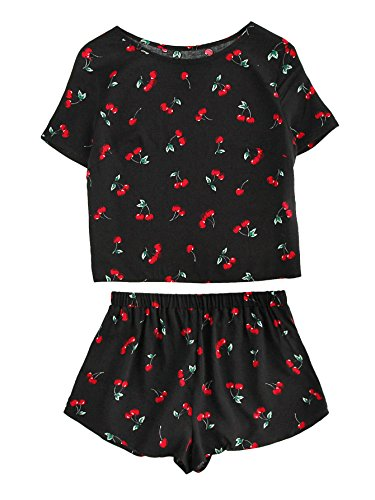 Shein Womens Cherry Print Top And Shorts 2 Piece Pajamas Set Large Black