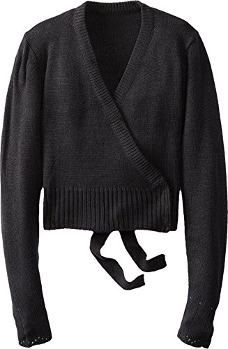 Youth Classic Knits Wrap Sweater, Black-SM 4/6