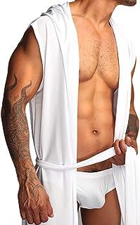 Catkoo Mens Bathrobe,Fashion Sleeveless Hooded Men's Spring Summer Bathrobe Sleepwear Nightgown Robe