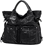 HESHE Sheep Skin Leather Fashion Tote Shoulder Bag Soft Handbags and Purses for Women (Black)