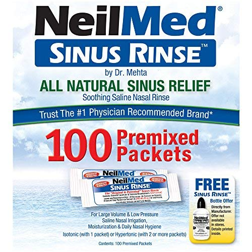 NeilMed Sinus Rinse All Natural Relief Premixed Refill Packets 100 Each