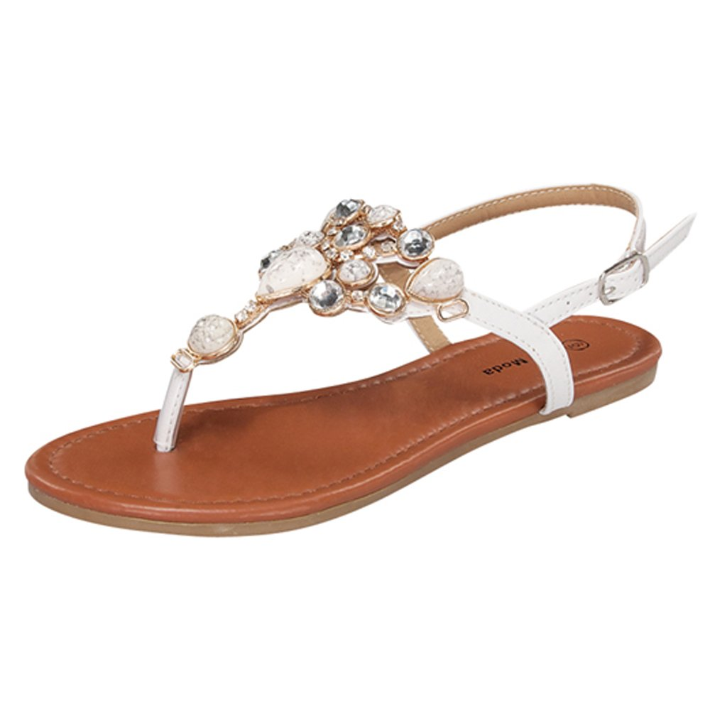 Top Moda Berry-9 Sandals, White Pu, 7.5