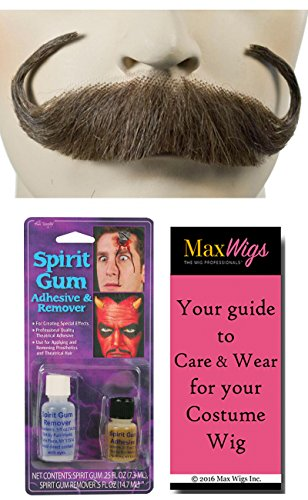 Handlebar Mustache Color LT GREY - Lacey Wigs Human Hair Rollie Pringles Dali Captain Hook Lace Backed Hand Made Facial Bundle w/Spirit Gum and Remover, MaxWigs Costume Wig Care Guide]()