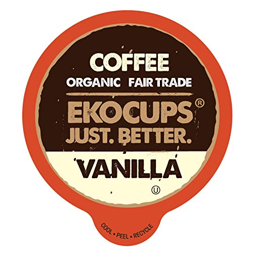 EKOCUPS Artisan Organic Vanilla, Medium Roast Hot or Iced Coffee In Recyclable Single Serve Cups for Keurig K-Cup Brewers, 20 Count