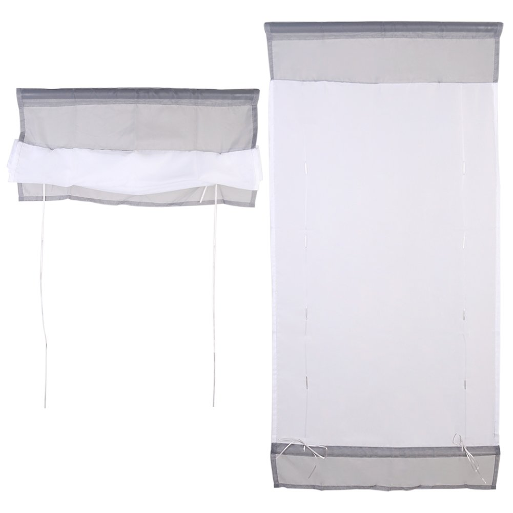 1 Pcs Liftable Voile Roman Shades Kitchen Bathroom Window Shade Curtain Valance Panel Drape (23