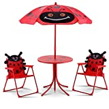 Costway Outdoor Kids Table Chairs Set Ladybug Children Foldable Furniture W/Parasol Play Seat Picnic Yard Patio Garden