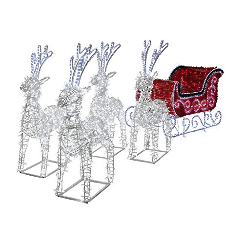 9' Commercial Size Reindeer and Sleigh Lighted Christmas Outdoor -