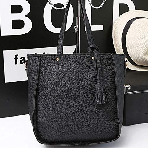 Handbag black piece Tassel Fashion Pink Shoulder Four Bag Refaxi Messenger Bag Women's Bag 7nOUxYwqUa