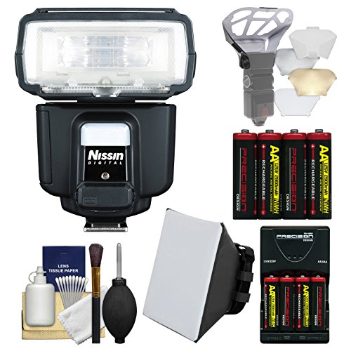 Nissin Digital i60A Air Wireless Zoom Flash with Soft Box + Bounce Diffuser + Batteries & Charger + Kit for Olympus for Sony Alpha Cameras by Nissin