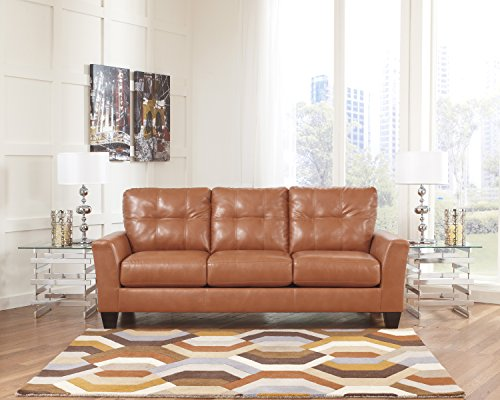 Paulie DuraBlend Contemporary Orange Color Faux Leather Sofa