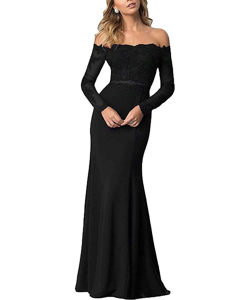 Black ModeC Prom Dresses Long Evening Gowns Lace Mermaid Prom Dress Off The Shoulder Evening Dresses