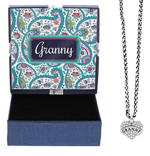 Granny Silver-Tone Crystal Adorned Heart Shaped Pendant Lobster Claw Necklace Paisley Gift Box Birthday Gifts Granny Necklace Granny Jewelry