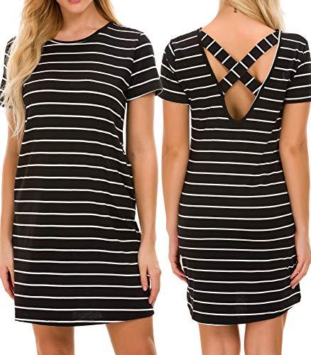 Plus Size T Shirt Dresses for Women Mini Dress Striped Criss Cross Tunic with Pockets 4X-Large Black -