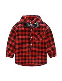 Chinatera Toddler Kids Boys Gentleman Baby Shirt Long Sleeve Bowknot Plaid Tops