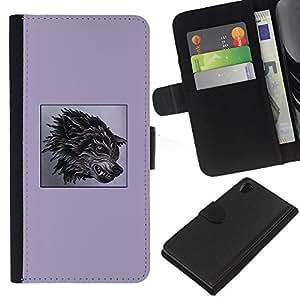 Planetar® Modelo colorido cuero carpeta tirón caso cubierta piel Holster Funda protección Sony Xperia Z2 D6502 ( Purple Fang Wolf Black Poster Dog Anger )