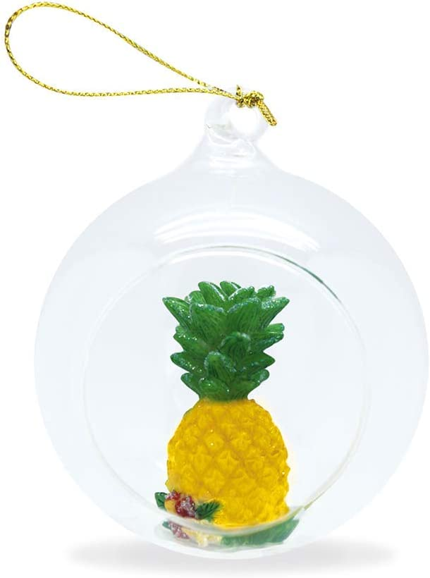 Island Heritage Hawaiian Pineapple Hand-Painted Glass Globe Hawaii Christmas Ornament