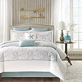 Harbor House 4-Piece Maya Bay Cotton Embroidered Oversized Comforter Set, King, White