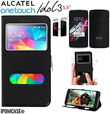iPOMCASE Funda con Tapa para Alcatel One Touch Idol 3 (5,5), con ...