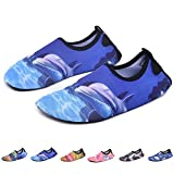 RUNSOON Kids Water Swim Shoes Girls Boys Aqua Socks Shoes Anti Slip for Beach Outdoor Athletic Sports,S08 Dolphin 32/33