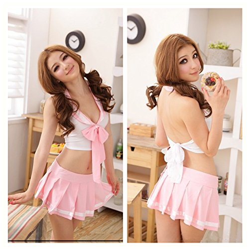[Casualfashion Sexy Pink Girl Students Lingerie School Uniforms Cosplay Outfit Dress] (Sexy School Uniform)