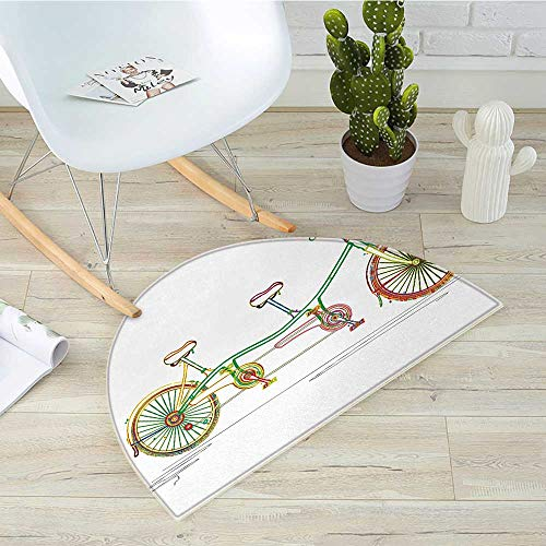 Bicycle Semicircle Doormat Colorful Tandem Bicycle Design on White Background Pattern Clipart Style Print Halfmoon doormats H 15.7