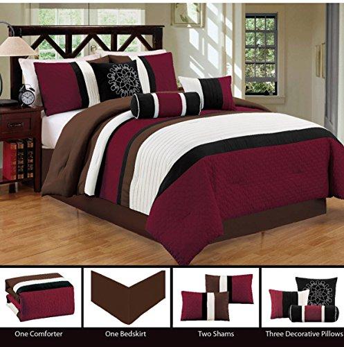 Hill Modern Bedspread (Dovedote 7 Pieces Burgundy ChocolateGorman Hills Strips Comforter Set - QUEENOn Sale)