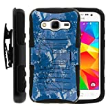 TurtleArmor | Compatible for Samsung Galaxy Core Prime Case | Prevail | Win 2 [Hyper Shock] High Duty Proof Belt Clip Cover Gel Hard Combo Camo Case Kickstand - Blue Forest