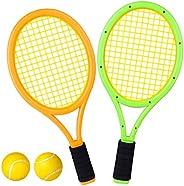 Lingxuinfo Kids Tennis Rackets Tennis Racquet Play Game Beach Toys Badminton Set with 2 Rackets