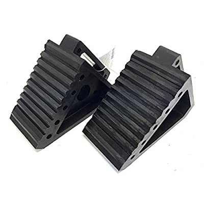 "MaxxHaul 2 pack 70472 Solid Rubber Heavy Duty Black Wheel Chock, 8"" Long x 4"" Wide x 6"" high-2 Pack, 2 pack: Automotive"