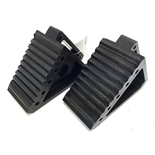 MaxxHaul 2 pack 70472 Solid Rubber Heavy Duty Black Wheel Chock, 8