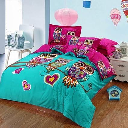 dd2465c51cf1 Amazon.com: LightInTheBox Bedding Bedtoppings Cotton Owl Duvet Cover & Pillowcases  Set (Set of 3) (Twin): Home & Kitchen