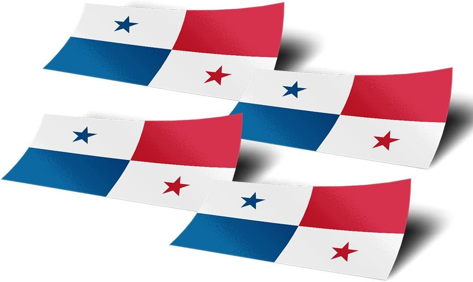 Panama 4 Pack of 4 Inch Wide Country Flag Stickers Decal for Window Laptop Computer Vinyl Car Bumper Scrapbook Panamanian 4