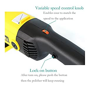 AutoCare 7-Inch Electric DA Polisher Waxer Buffer Machine for Car Boat Floor Furniture -- 7.9 lbs, Variable Speed, 7ft Cord, with Hook & Loop Backing Pad, Wool Bonnet and Waxing Pad, 110V