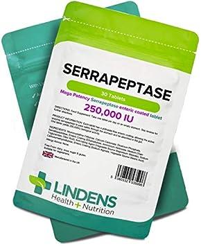 Lindens Serrapeptase 250 000 UI de gran potencia en comprimidos | 30 Paquete | Comprimido de recubrimiento entérico ultrapotente y sin ftalatos para que ...