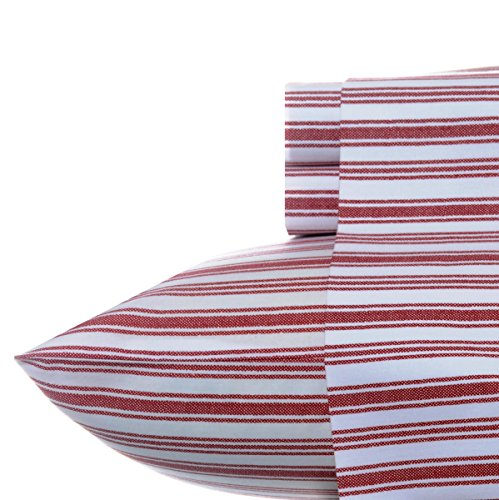 Cotton Egyptian Cotton Print (Nautica Stripe Cotton Percale Sheet Set, Queen, Coleridge Red)