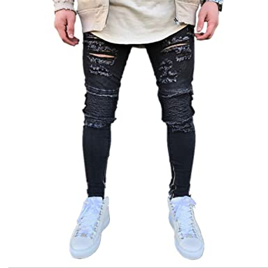 0a67bf5a35f Image Unavailable. Image not available for. Color  Men Stretchy Ripped  Skinny Biker Jeans Destroyed ...