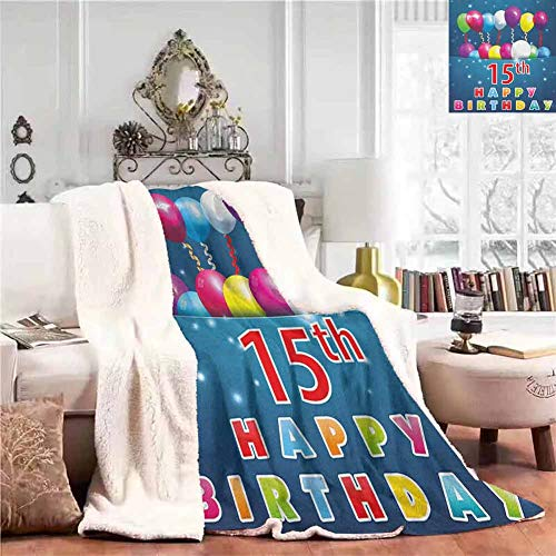 EDZEL Elegant and Comfortable Blanket Sofa Blanket Festive Occasion Surprise Party Theme with Balloons and Curly Swirled Ribbons Cashmere All Season Blanket Blankets for Bed Couch Throw Size (Baby Surprise Jacket Line By Line Instructions)