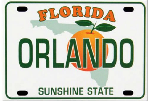 World By Shotglass Orlando Florida License Plate Fridge Collector's Souvenir Magnet 2.5