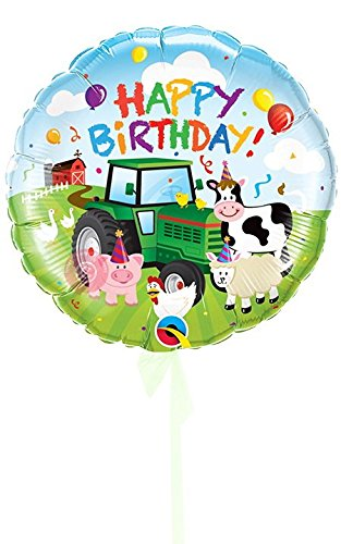 Single Balloon Happy Birthday Barnyard  Inflated Birthday Helium Balloon Delivered in a Box  Biggest Bouquet  10 Balloons  Bloonaway