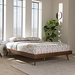 Bedroom Baxton Studio Jacob Queen Platform Bed in Walnut Brown modern beds and bed frames