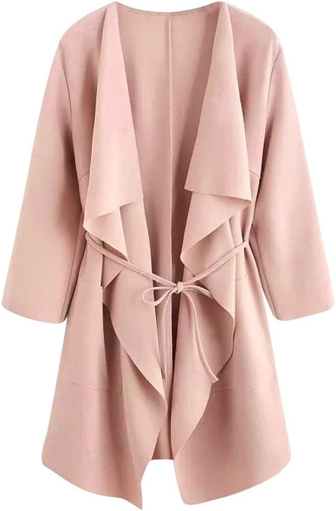 Womens Lapel Collar Long Sleeve Tie Waist Wrap Trench Outwear Coat Cardigan by Nevera